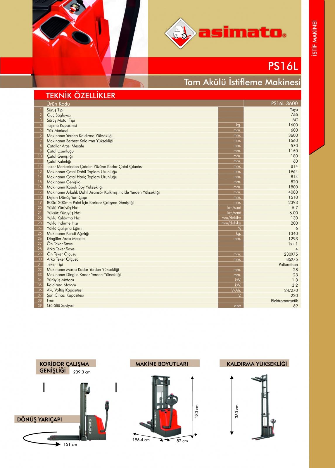 PS16LFFL SERİSİ 1.6 TON 3.6 METRE TAM AKÜLÜ İSTİF MAKİNESİ