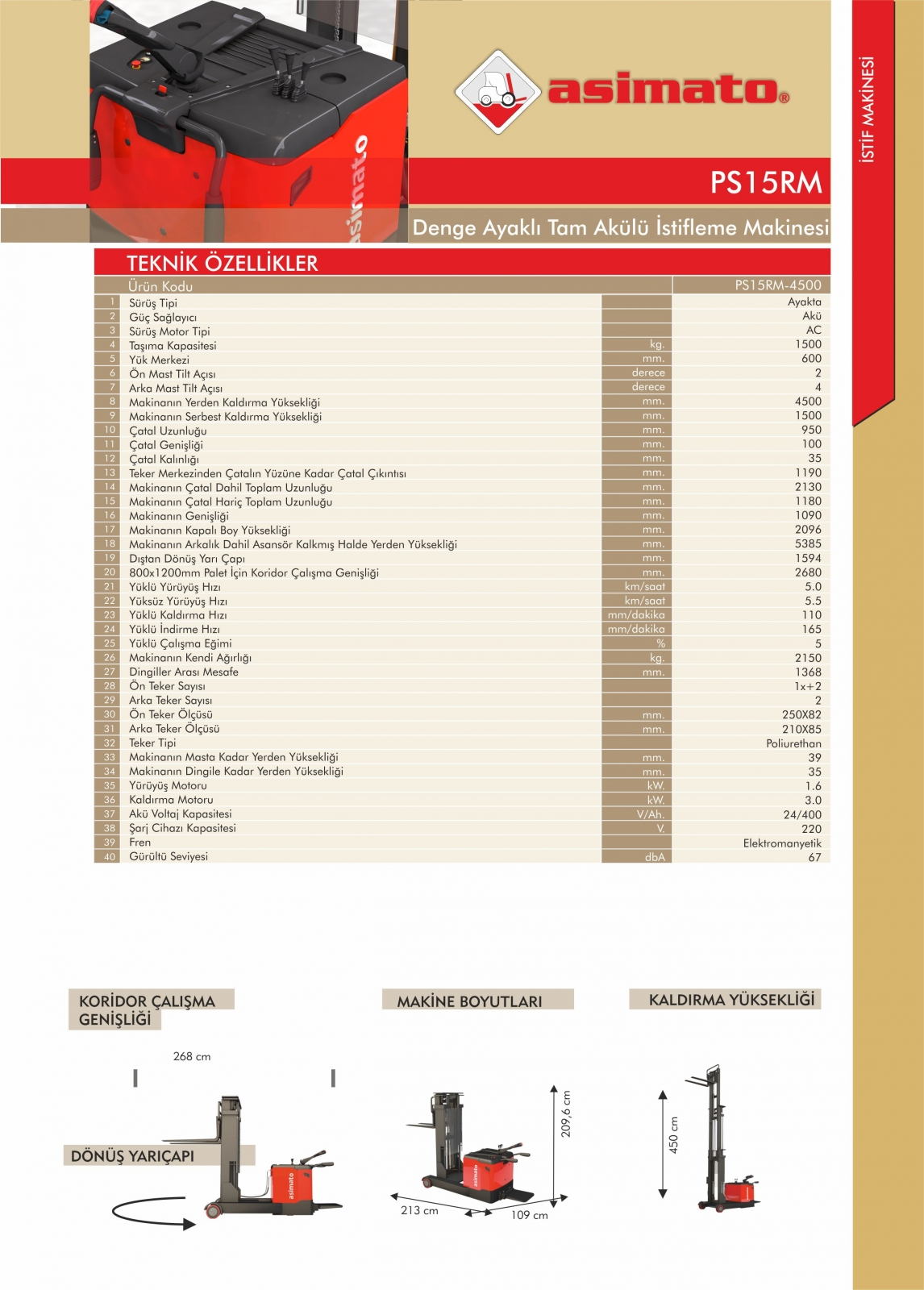 PS15RM SERİSİ 1.5 TON 4.5 METRE TAM AKÜLÜ İSTİF MAKİNESİ