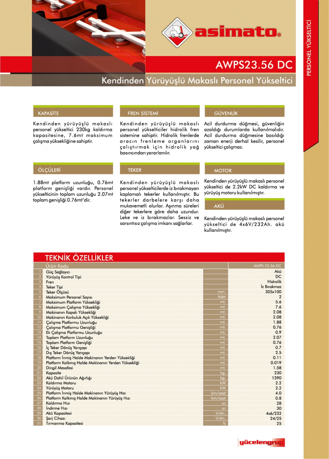 AWPS2356 SERİSİ 230 KG 7.6 METRE AKÜLÜ MAKASLI PERSONEL YÜKSELTİCİ